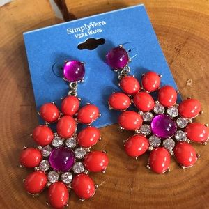 NWT Vera Wang Orange wine Statement Earrings